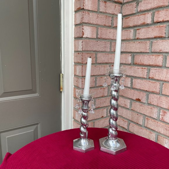 Pair of Vintage Twisted Silver-Plated Candleholders